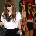 Jessica Airport |! Girls Jessica, infinite of Son'yoru, airport fashion Seo Hee of wondergirls Comme de st ** T- shirt