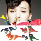 g-dragon of topic style unique dinosaur earrings / BIGBANG / crayon