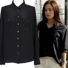 "★ 4 Anniversary Sale ★ Muncheu~on fashion style was worn in ""The Innocent Man"" black silk blouse"