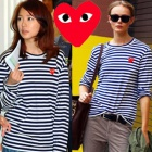 COMME des G *** st. Stripe Heart with point T-shirt