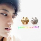 Korean popular idol EXO Geo metrics earrings & earrings (2 colors)