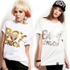 ★DAY SHIPPING★ Street has attracted Korea popular brand ★ recently popular fashion brand BOY LONDON st.Silver or Gold printing Eagle Boy half T-shirt