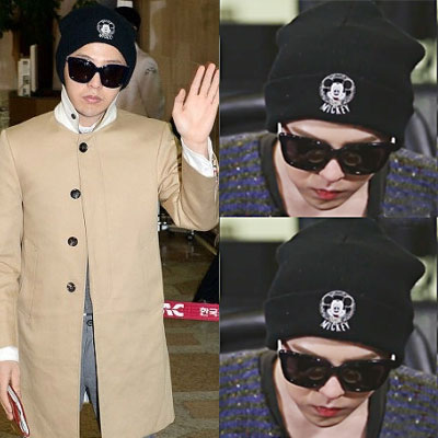 J G-dragon is worn by @ YR |. CH st Mickey logo knit hat (Black)