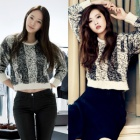 South Korea popular idol F (X) Crystal Korea actress Go Ara wear Enviro-style two-tone knit T-shirt # Korean fashion