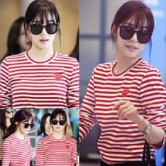 Girls plainclothes mail order Korea popular idol SNSD Tiffany wear style Comme style red stripe long-sleeved T-shirt (2Size)