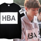 Overseas celebrity Korea popular idol wearing style H * A style box logo over printing short sleeve T-shirt (3Color · unisex)