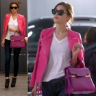 "Heroine Jeon Ji Hyun wear style ~ of the popular drama ""came from the star you""! Thom * sw style pink leather jacket"