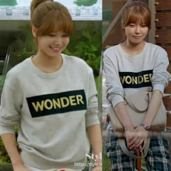 """EMS free shipping = 3 business days arrival"" style Girls Soo was worn in [spring day of my life] Korea Drama! SAND ** STYLE WONDER LOGO T-SHIRTS"