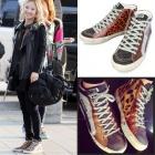 Airport Fashion items of Girls Kim Hyo-yeon! G @ LDEN G@@SE st. Leopard & Silver Hightop sneaker