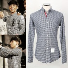 "G-DRAGON and Korean drama ""Haidojikiru, I"" topic in Hyun Bin worn! TH.B style NAVY CHECK SHIRTS"
