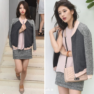 4 An MISS A Suji / Girls' Generation Tiffany fashion style! Herringbone check color jacket + skirt 2 piece set