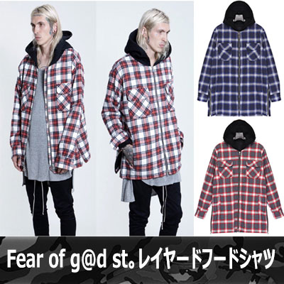 《EMS free shipping》Hottest in the global fashion two star ☆! Fear of g @ d st can be wearing. Food shirt layer hood shirt-copy