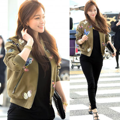 ★★30%OFFSALE★★Han Ye Seul Airport Fashion Style! Stylish Butterfly Patch Air Jacket (S, M, L)