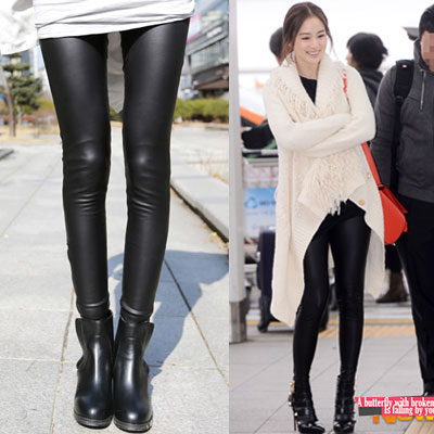 Actress Kim Tae-hee Airport Fashion Style! Zipper leather leggings