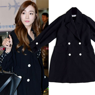 SNSD Tiffany's airport fashion style A-line trench coat