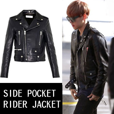 ★Women's size★EXO uichan heat, Baek Hyeon, G-Dragon, such as K-POP STAR STYLE! SIDE POCKET LETHER RIDER JACKET (S, M)