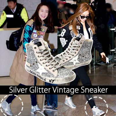 "Girls' Generation Yuri, ""grandfather than flower"" Choi Ji Woo STYLE! SIVER GLITTER VINTAGE SNEAKER"