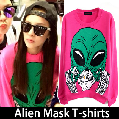 2ne1 Dara fashion icons in the style worn Instagram! Alien Mask T-shirts (white, pink)