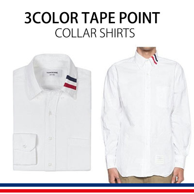 Gorgeous three-color tape is the point! 3COLOR TAPE POINT COLLAR SHIRTS
