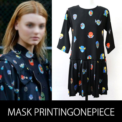 International Celebrity Hot Fashion! The mask pattern ONEPIECE DRESS (WHITE, BLACK)