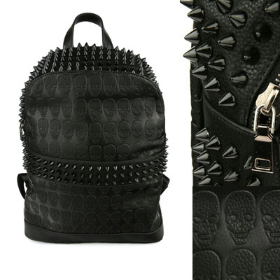 SKULL STUD BACKPACK / high-grade synthetic leather