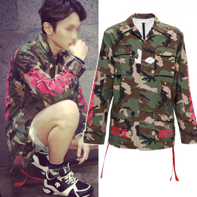 ★REORDER★Shiny key style,Kanye West released early style was a hot topic! Camouflage Red Line embroidery patch jacket / camouflage