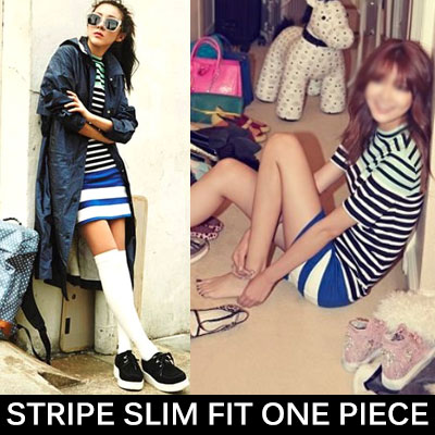 2NE1 SANDARA Girls' Soo style/STRIPE SLIM FIT ONE PIECE