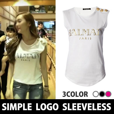 Girls in South Korea popular program on style Jessica wear fashion style ~! Shoulder button simple logo Sleeveless (BLACK, WHITE, PINK)