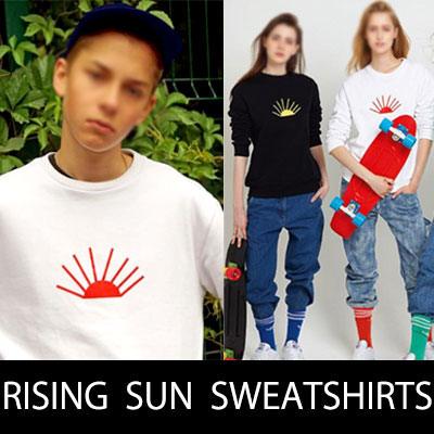 Now, hot street brand has become a hot topic! Rising Sun print pullover scan weight shirt / RISING SUN PRINT SWEATSHIRTS