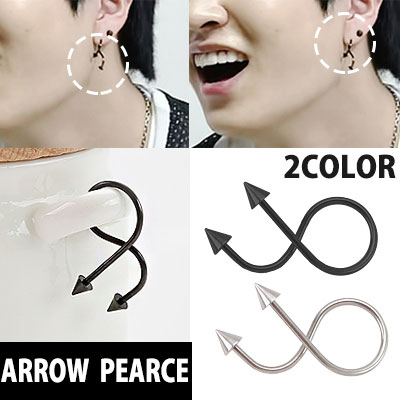 South Korea popular idol GOT7 style! Flexible resembling a devil tail arrow-shaped earrings one / DEVIL TAI LARROW PEARCE 1piece (SILVER, BLACK)