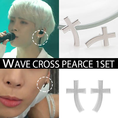 SHINEE Jung Hyun, unique WAVE cross earrings KEY (1SET-2ps) / WAVE CROSS PEARCE
