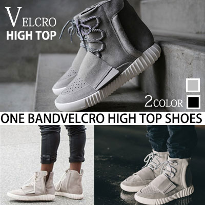 [24.5~27.0cm]KANYE WEST style! ONE BAND Velcro high-top shoes / ONE BAND BOOT VELCRO HIGH TOP SHOES