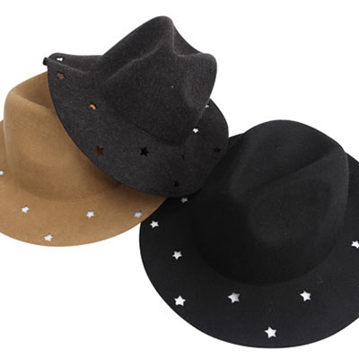 ★ PUNCHING STAR-6 colors ★ in the star-shaped punching point, stylish design fedora hat -Beige / Khaki / Wine / Melange / Charcoal / Black