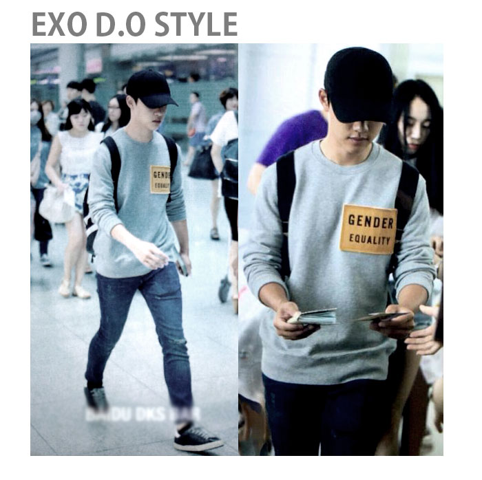 EXO DO airport fashion style! Panel patch unique message patch panel sweatshirt, such as a message card