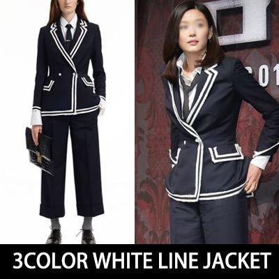 Jeon Ji Hyun style! White 3 COLOR LINE JACKET