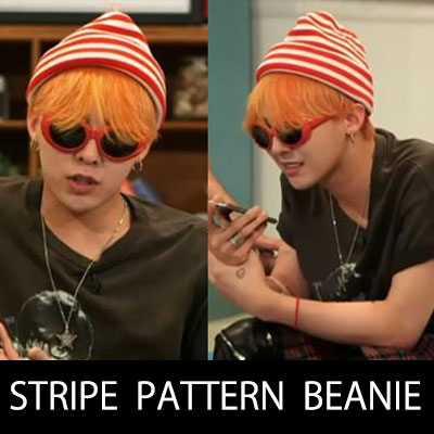 ★20%OFF SALE★BIGBANG G-DRAGON fashion style!STRIPE PATTERN BEANIE