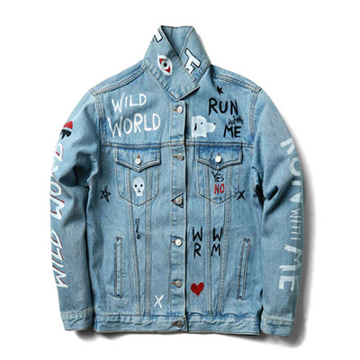 ★ High quality ★ unique handmade lettering print denim jacket _LIGHT BLUE