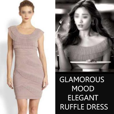 After School Nana fashion style! GLAMOROUS MOOD ELEGANT RUFFLE DRESS (PINNK, BLACK)