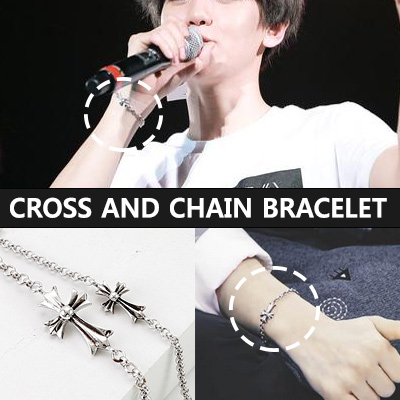 EXO Bekuhyon STYLE!CROSS AND CHAIN BRACELET(S,L)