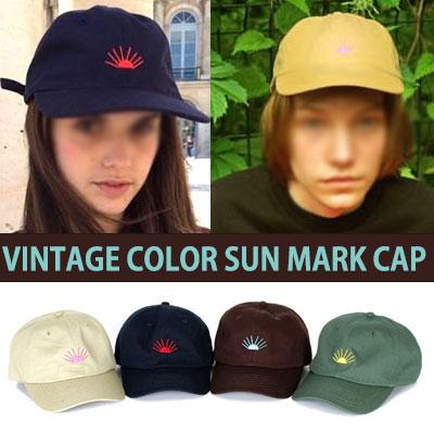 VINTAGE COLOR   SUN MARK BALL CAP /SNAPBACK (4COLOR)