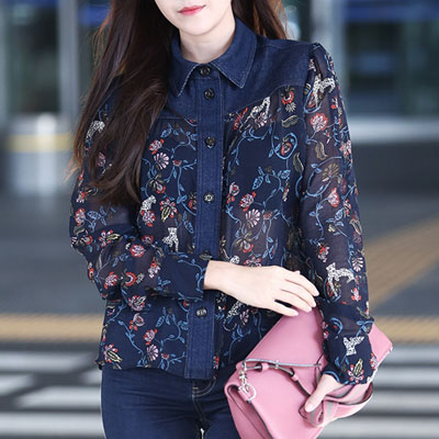 SNSD Tiffany, Jessica airport fashion style! Floral pattern denim patch see-through blouse
