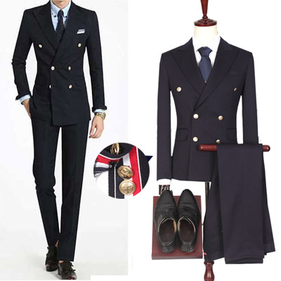 3COLOR LINE DOUBLE BREASTED BLAZER SUIT SET (JACKET + PANTS)