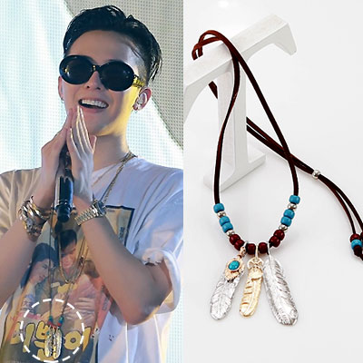 G-DRAGON [MADE] activity at the time of the fashion style! Ethnic feather necklace