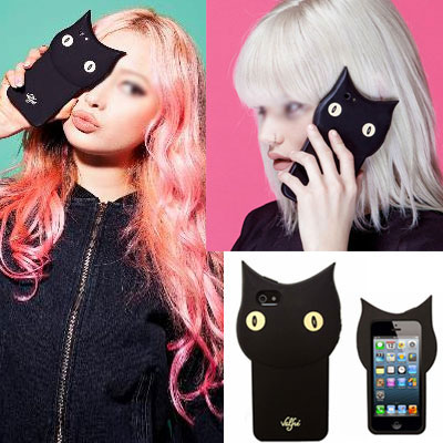 3D Kuroneko Sumaho case / BLACK CAT SMART PHONE CASE [iPhone5 / 5S, iPhone6] Sumahokesu / Eye Phone Case