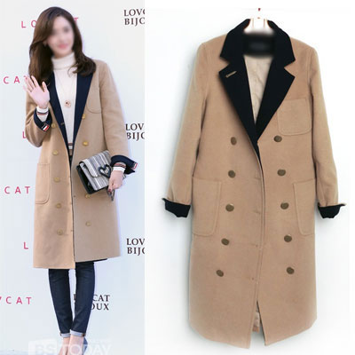 Girls generation Yoon-a style! 3 COLOR LINE TAPE TRENCH COAT