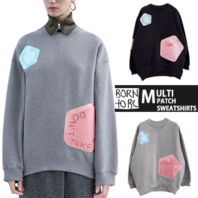 ★ High quality ★ AC style multi embroidered patch loose fit sweatshirt (Grey, Black)-copy