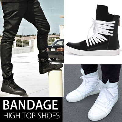 [25.5~28.0cm]Bandage style high-top sneakers / strap high-top (BLACK, WHITE)