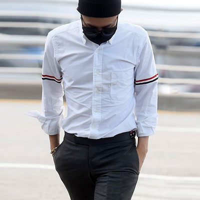 G-DRAGON airport fashion style! 3COLLAR TAPE  POINT OXFORD WHITE SHIRTS