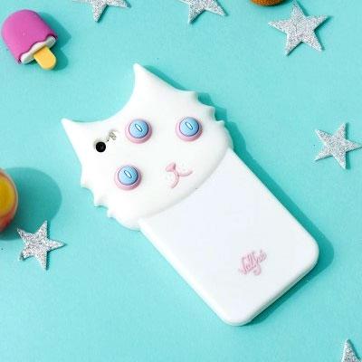 3D white cat smartphone case / cute white cat Sumahokesu / iPhone Sumahokesu / iPhone case iPhone6 / iPhone6 + / iPhone6 + S