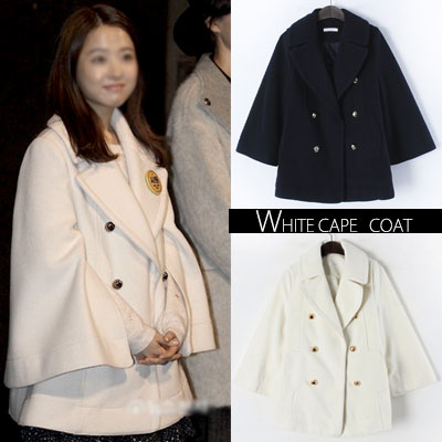 South Korean actress Park Bo-young plainclothes style! WHITE DOUBLE BREAST CAPE   COAT